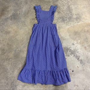Vintage Bib Apron Floral Prairie Maxi Dress Blue